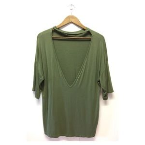 BooHoo | Olive Green Deep Plunge Collar T-Shirt